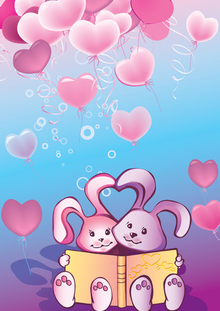 Two nice rabbits read a book. Greeting card for Valentines Day. Vector art-illustration. Vector