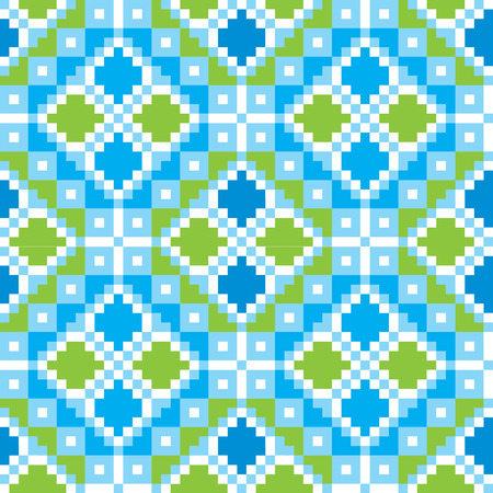 embroider: Seamless embroidered good like handmade cross-stitch ethnic Ukraine pattern. Vector art-illustration.