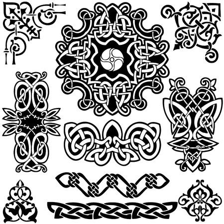 keltische muster: Keltische Kunst-Sammlung auf einem wei�en Hintergrund.