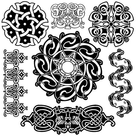 pagan: Collection-art celtique sur un fond blanc. Illustration