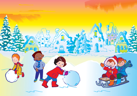 Winter story. Happy childhood. Place for your text. Illustration