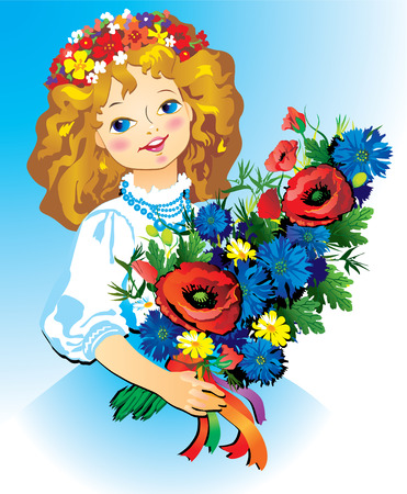 Beautiful girl with flowers. Vector