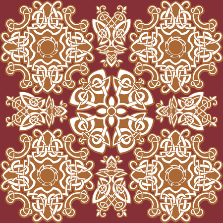Celtic art-collection on a red background.  Vector