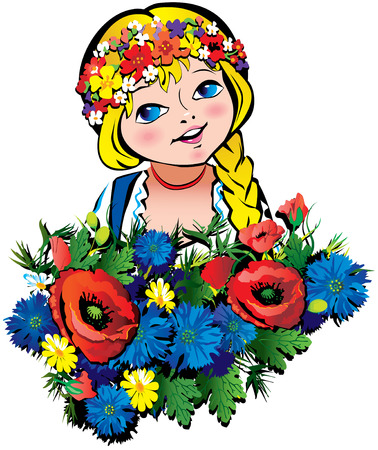 Beautiful girl with flowers. art-illustration on a white background. Иллюстрация
