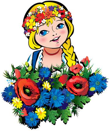 Hermosa chica con flores. arte-ilustración sobre un fondo blanco. Ilustración de vector