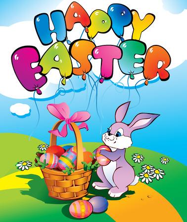 conejo caricatura: Conejo de Pascua con una canasta de mimbre. Lugar para el texto. Felices Pascuas.