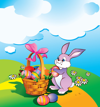 cottontail: Easter bunny with a wicker basket. Place for your text. Happy Easter. art-illustration. Illustration