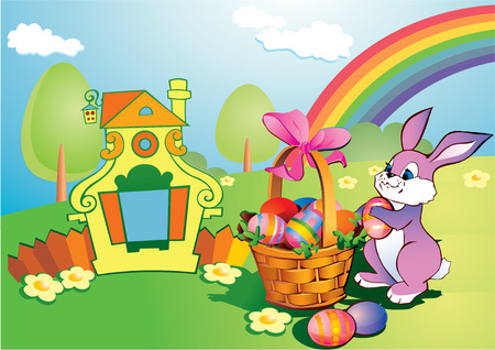 Easter bunny with a wicker basket. Happy Easter. art-illustration.
