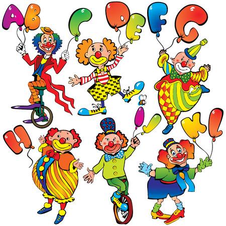 giullare: Divertenti clown con palloncini in forma di lettere su sfondo bianco. Arte-illustrazione vettoriale.
