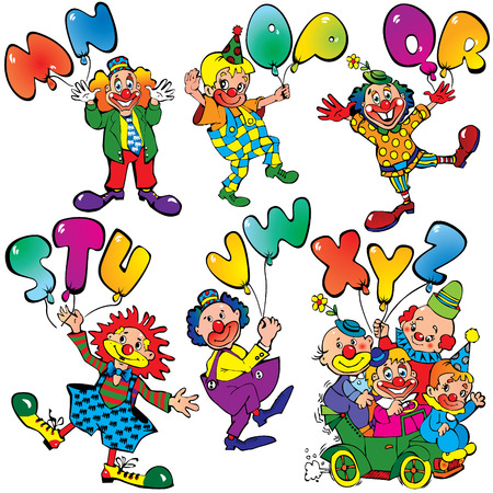 stage costume: Funny clowns with balloons in the form of letters on a white background. Vector art-illustration.