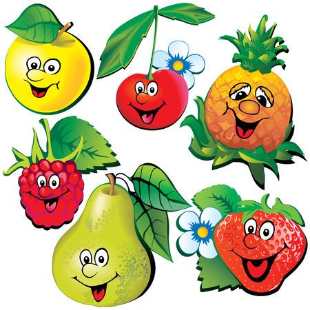 raspberries: Funny fruits. Vector art-illustration on a white background.