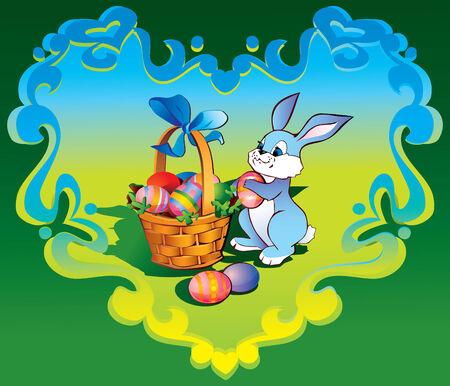gift basket: Easter bunny with basket in the heart-frame. art-illustration.  Illustration