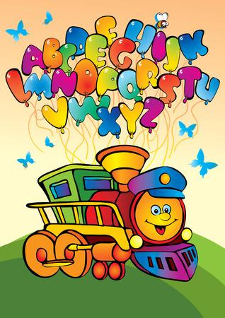 birthday train: Cartoon train with alphabet. art-illustration. Illustration