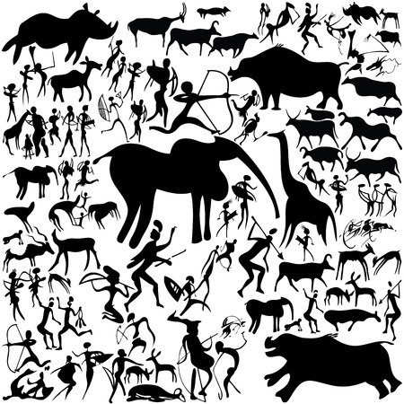Cave painting on a white background. art-illustration. Vector
