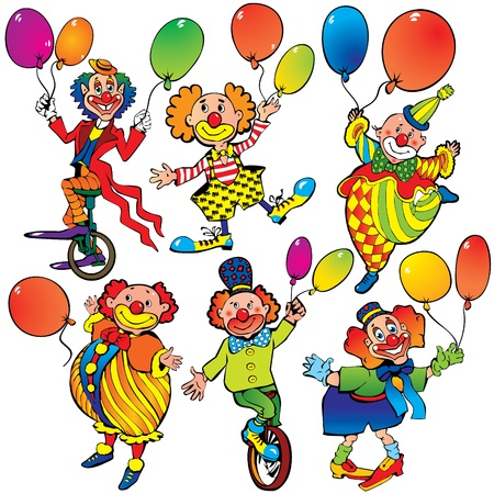 comedian: Funny clowns with balloons Illustration