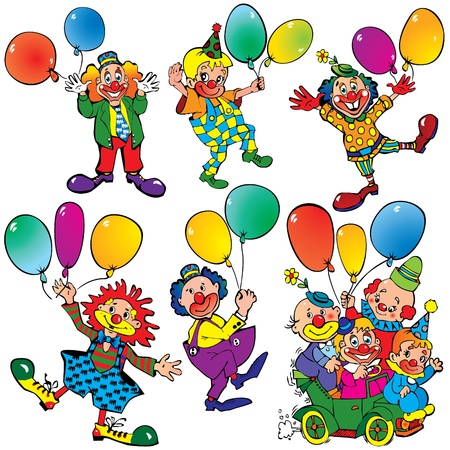Funny clowns with balloons Illustration