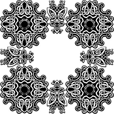 pohanský: Celtic vector ornamental pattern on a white background. Ilustrace