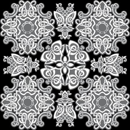 Celtic vector ornamental pattern on a black background. Stock Vector - 9291856