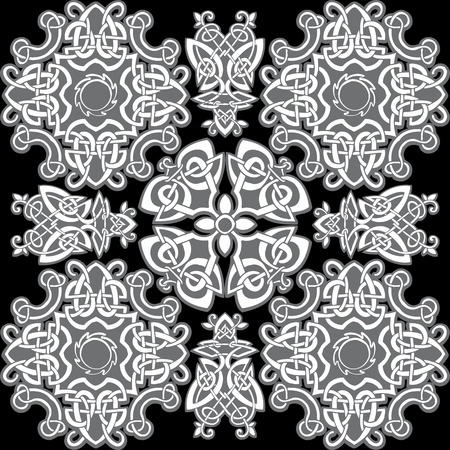 pagan cross: Celtic vector ornamental pattern on a black background.