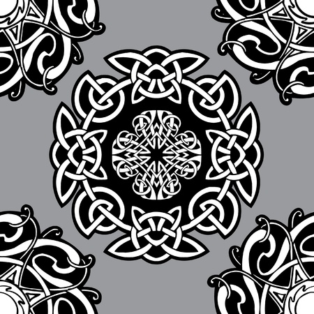 celtic culture: Celtic vector ornamental pattern on a grey background.