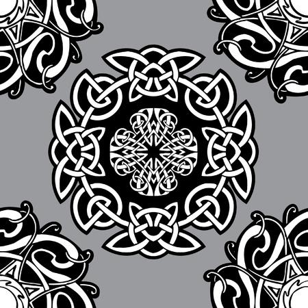 celtico: Modello ornamentale di celtica vettoriale su uno sfondo grigio. Vettoriali