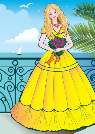 Beautiful girl with flowers on a ocean background.   Vector