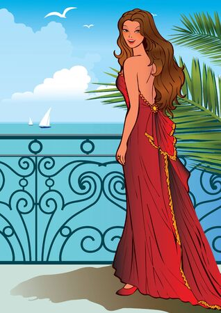 Beautiful girl on a ocean background.