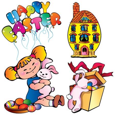 Easter set. Happy easter. Vector art-illustration on a white background. Vector