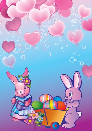 Two bunnies with easter eggs. Place for your text. Happy Easter. Vector art-illustration. Vector