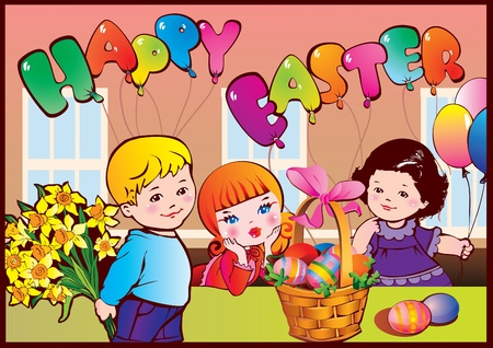 Happy Easter. Good childhood.  Vector art-illustration. Vector