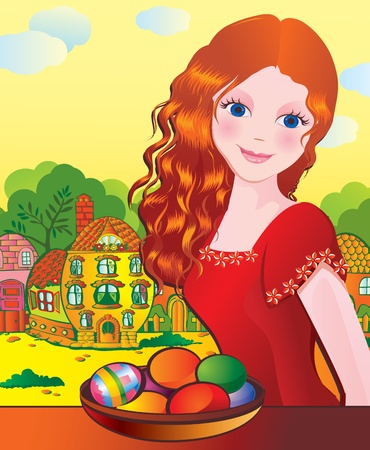 Beautiful girl with Easter eggs. Happy Easter. Vector art-illustration. Vector