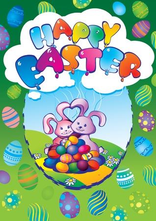 Greeting card. Two easter rabbits with eggs. Happy Easter. Vector art-illustration. Vector