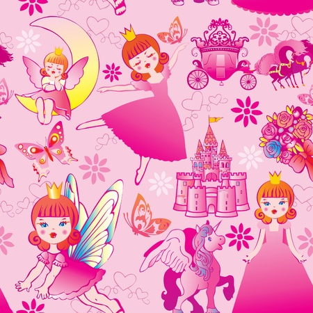 faerie: Seamless princess pattern. Vector art-illustration.