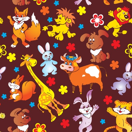 Seamless animals pattern. Vector art-illustration. Vector