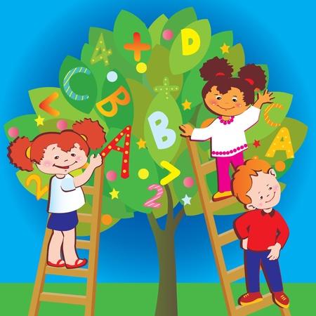 maestra preescolar: Niños con letras y números. Infancia de la escuela. Vector arte-ilustración.