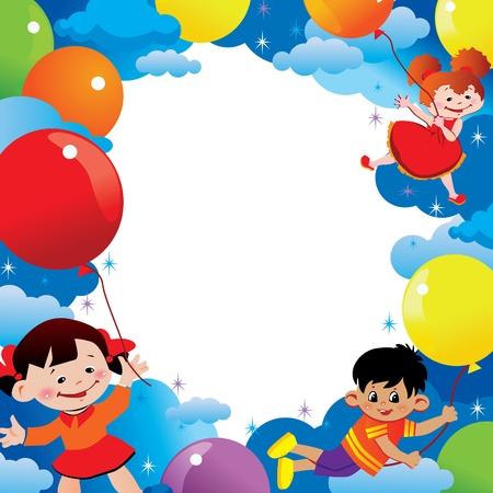 carnival girl: Ni�os volando en globos. Lugar para el texto. Infancia feliz. Vector arte-ilustraci�n. Vectores