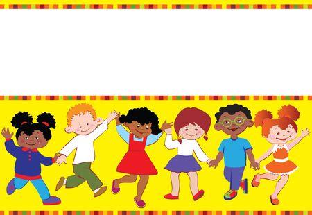place for children: Felices los ni�os juegan juntos. Lugar para el texto. Vector arte-ilustraci�n. Vectores