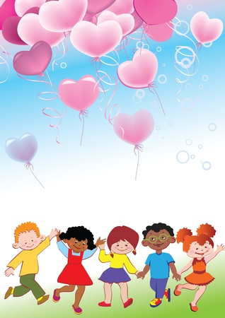 Children with balloons in the form of heart. Greeting card. Place for your text. Vector art-illustration.  Vector