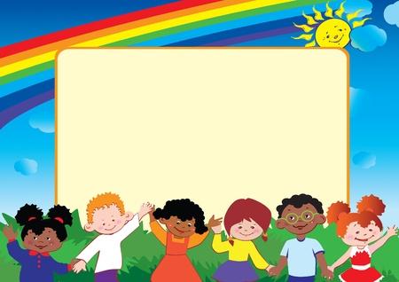 Felices los niños juegan juntos. Lugar para el texto. Vector arte-ilustración.