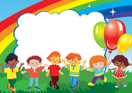 Happy children play together. Place for your text. Vector art-illustration.