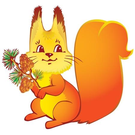 ardilla: Ardilla con los conos de pino sobre un fondo blanco. Vector arte-ilustraci�n.