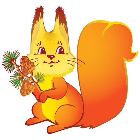 wildlife smile: Squirrel with the pine cones on a white background. Vector art-illustration.