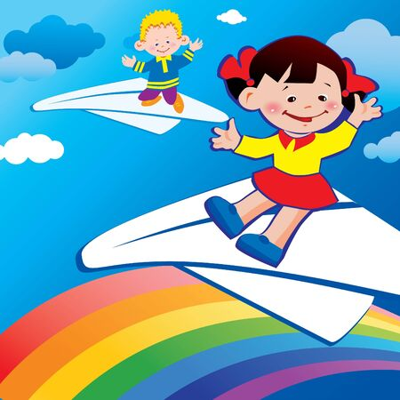 Children flying on a paper planes. Happy childhood. Vector art-illustration. Vector