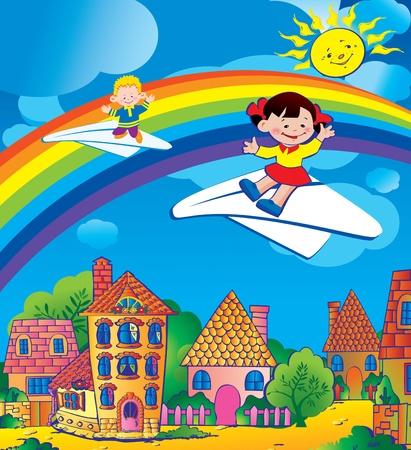 Children flying on a paper planes. Happy childhood. Vector art-illustration. Vector