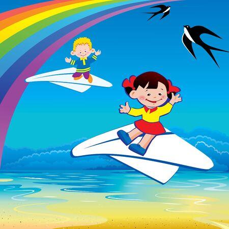 Children flying on a paper planes. Happy childhood. Vector art-illustration. Stock Vector - 9563020