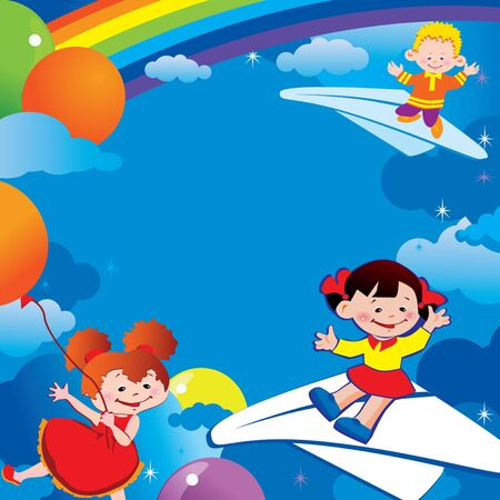 Children flying on balloons and on paper planes. Place for your text. Happy childhood. Vector art-illustration. Vector