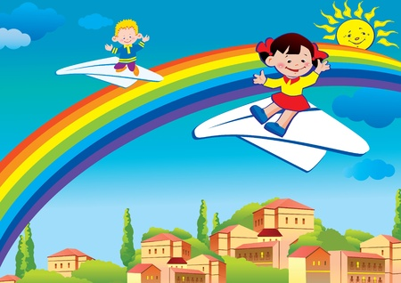 Children flying on a paper planes. Happy childhood. Vector art-illustration. Stock Vector - 9563023