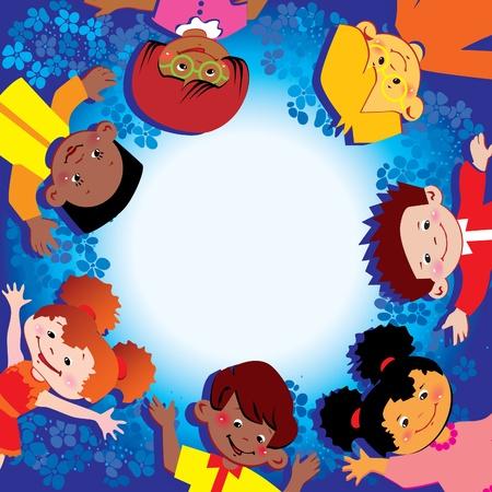 place for children: Ni�os felices. Lugar para el texto. Vector art-ilustraci�n. Vectores