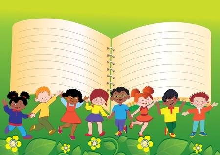 place for children: Ni�os felices. Marco de los ni�os. Lugar para el texto. Vector art-ilustraci�n.