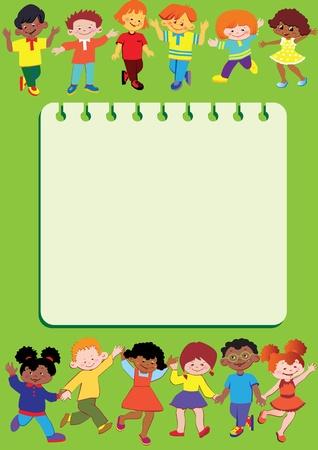 Happy children. Children frame. Place for your text. Vector art-illustration.